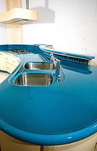 Plan de travail de cuisine en lave émaillée Turquoise Soutenu