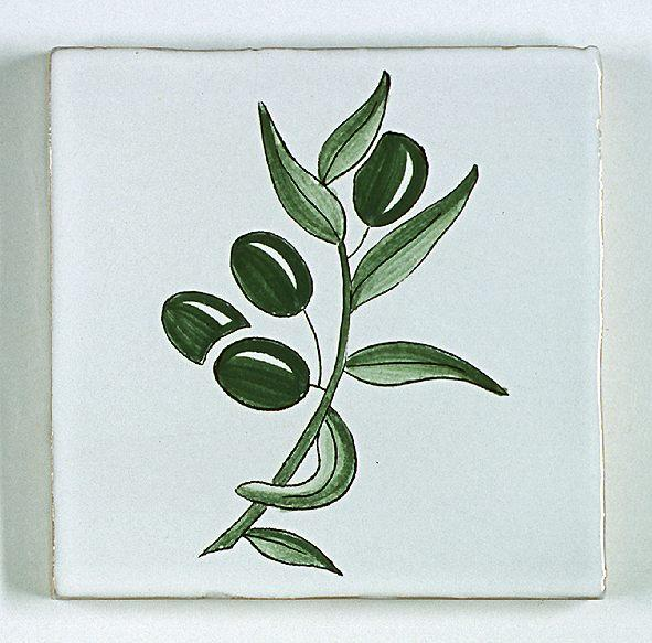 carreau décoré motif olives peint à la main
