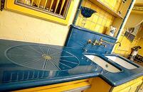 Plan de travail en lave émaillée couleur Bleu soutenu