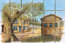 panneau décoratif le mas sur carreaux de terre cuite