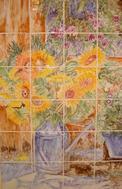 Panneau Décoratif sur carreaux 15 x 15 - L 'Arrosoir -