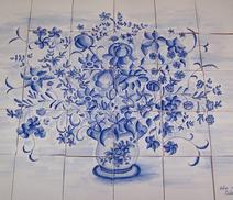 Panneau décoratif - bouquet Moustiers - Carreaux de terre cuite