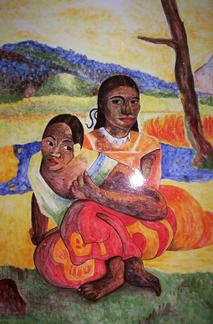 Pierre de lave - Panneau décoratif - motif Gauguin - Salernes en Provence